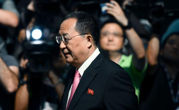 North Korean Foreign Minister Ri Yong Ho leaves his hotel in New York on Monday. Ri says President Trump's tweets amount to a declaration of war against North Korea — and that the country can now defend itself under international law.