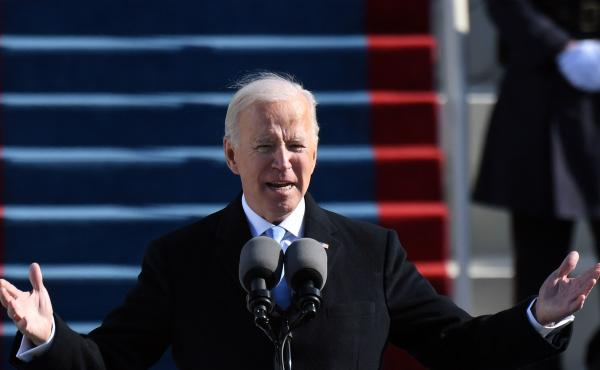 U.S. President Joe Biden delivers his inauguration speech on January 20, 2021, at the U.S. Capitol in Washington, DC.