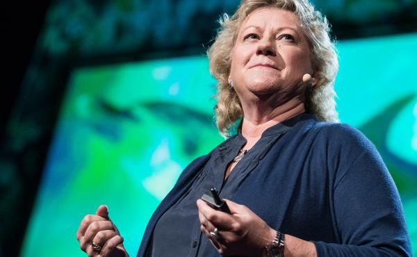 Denise Herzing on the TED stage.