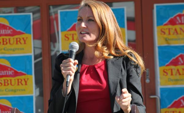 Melanie Stansbury speaks during a campaign rally in Albuquerque, N.M., on Thursday.