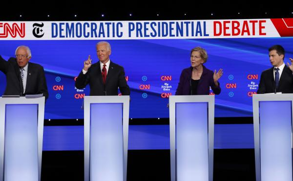 Democratic presidential candidates (from left): Sen. Bernie Sanders, former Vice President Joe Biden, Sen. Elizabeth Warren and South Bend, Ind., Mayor Pete Buttigieg during a Democratic presidential debate.