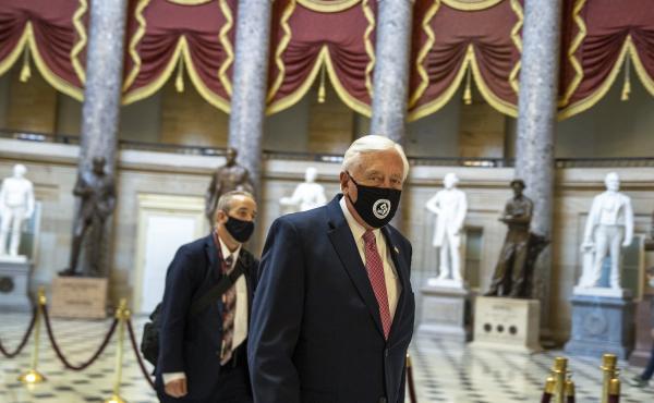 House Majority Leader Rep. Steny Hoyer walks through Statuary Hall at the U.S. Capitol.