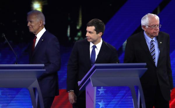 Democratic presidential candidates former Vice President Joe Biden; South Bend, Ind., Mayor Pete Buttigieg; and Sen. Bernie Sanders of Vermont participate in Thursday's debate in Houston.