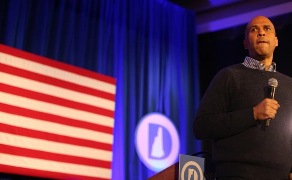 Sen. Cory Booker of New Jersey addresses a crowd in New Hampshire, which happens to be a key early presidential primary state.