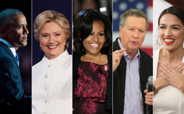 On the list of speakers at next week's Democratic National Convention are (from left) Barack Obama, Hillary Clinton, Michelle Obama, John Kasich and Alexandra Ocasio-Cortez.