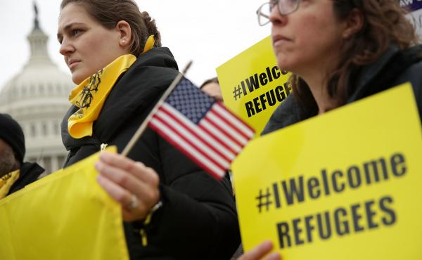 Activists join House Democrats on Feb. 1, 2017 on Capitol Hill to denounce President Trump's travel ban. A backlash to Trump's immigration policies came along with a two-decade shift among Democrats, largely unifying around immigration as a civil rights i