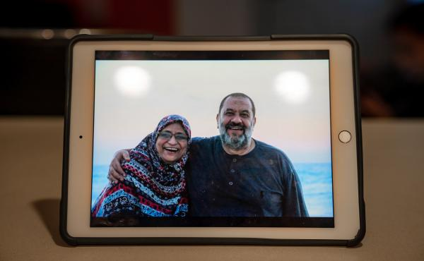 """For Khaled Badawy, Abdelmoniem's husband, his own experience in prison was nothing compared with what he is going through now. """"I didn't feel as much vanquish when I was in prison. Now my wife is in jail, and I feel helpless and broken,"""" Badawy says."""