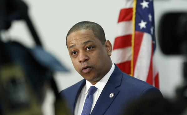 Virginia Lt. Gov. Justin Fairfax addresses sexual misconduct allegations made by two women against him and presented the results of a polygraph test, during a news conference in his office at the Capitol in Richmond, Va.