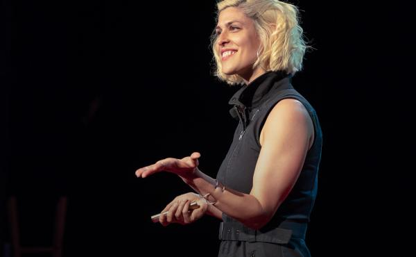 Dessa on the TED stage.