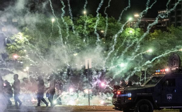 """After covering anti-police brutality protests in May, photojournalists Nicole Hester, Matthew Hatcher and Seth Herald (who took this photo) were shot with rubber pellets by Detroit Police Cpl. Daniel Debono in an """"unprovoked"""" attack, according to prosecut"""