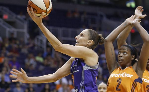 The Phoenix Mercury's Diana Taurasi set the WNBA's all-time scoring record on Sunday. Above, Taurasi drives past the Connecticut Sun in a May 2016 game.
