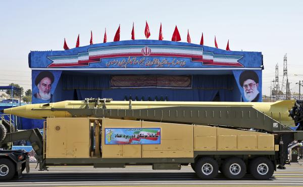 An Emad ballistic missile is displayed by the Revolutionary Guard during a September 2016 military parade in front of the shrine of Iran's revolutionary founder Ayatollah Khomeini, just outside Tehran. Iranian Foreign Minister Mohammad Javad Zarif has sai
