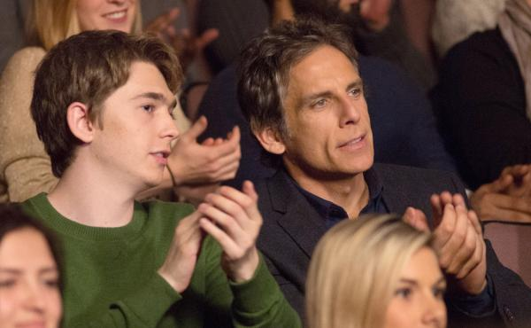 In Brad's Status, a father (Ben Stiller, right) takes his son (Austin Abrams) on a college tour and starts thinking about his own college friends, who are much more successful that he is.