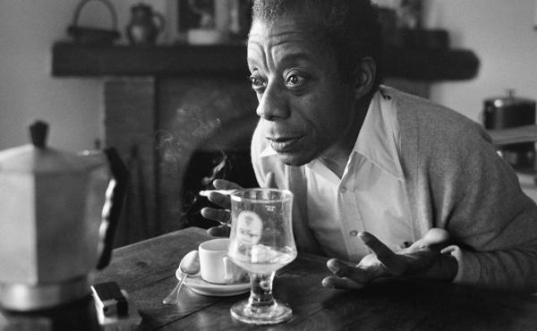 James Baldwin poses at his home in Saint-Paul-de-Vence, France in 1979.