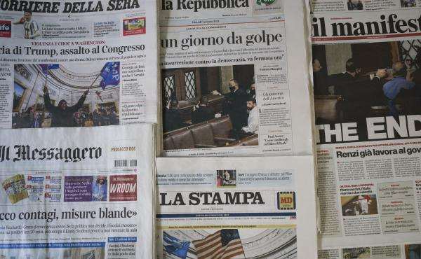 "Italian papers show the chaotic scenes from Washington, with one headline declaring ""The End."" Others proclaim, ""Gunshots on Democracy"" and ""USA – Day of the Coup."" World leaders are reacting with shock and dismay to the assault on the Capitol."