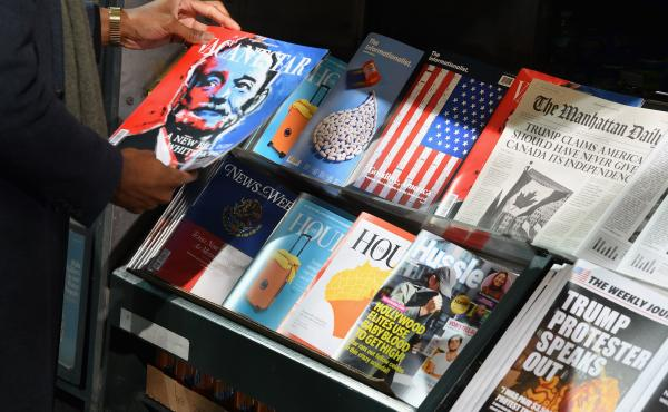 Columbia Journalism Review set up a misinformation newsstand in Manhattan in October 2018, in an effort to educate news consumers about the dangers of disinformation in the lead-up to the U.S. midterm elections.