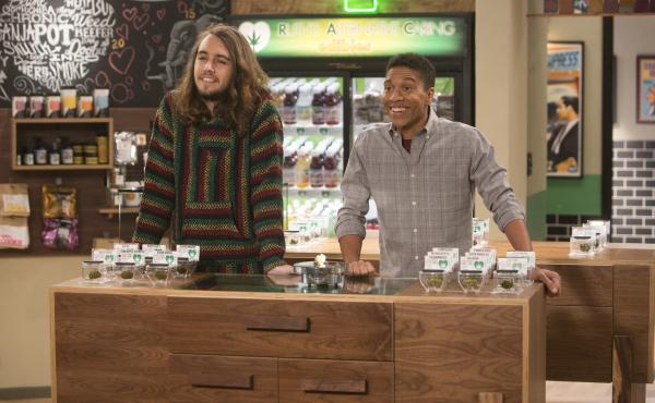 Dougie Baldwin (left) and Aaron Moten are two of the stars in the new Netflix comedy Disjointed, which is set in a medical marijuana dispensary.
