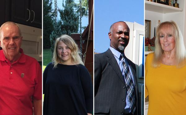 Ohio voters Marty Surella (from left), Katie Rooney, Ennis Tait and Linda Caudill