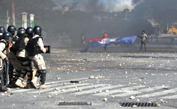 Haitian police have struggled to control street protests as demonstrators call for President Jovenel Moise to resign over alleged misuse of the Petrocaribe fund.