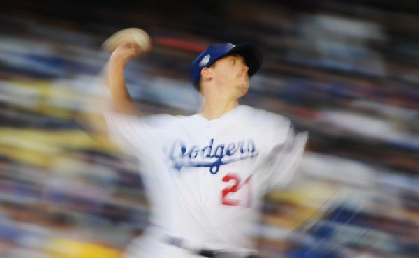 Starting pitcher Walker Buehler of the Los Angeles Dodgers throws against the Boston Red Sox on Friday during the second inning in Game 3 of the World Series in Los Angeles. He threw more than 20 pitches faster than 98 mph in the first three innings.