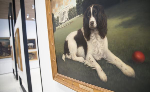 """The painting """"Millie on the South Lawn"""" by Christine Merrill hangs at the American Kennel Club Museum of the Dog."""