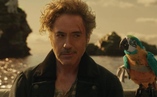 """Polly want a movie!"": Dr. John Dolittle (Robert Downey Jr.) and parrot (voiced by Emma Thompson) are lost at sea in Dolittle."