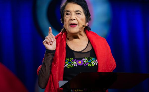 Dolores Huerta on the TED stage.