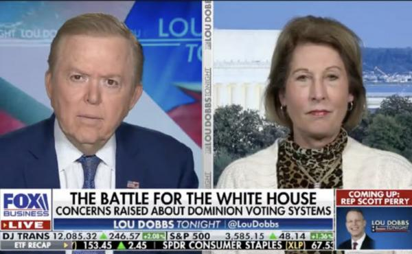"""A lawsuit from Dominion Voting Systems highlights election claims that Trump attorney Sidney Powell made on Lou Dobbs' Fox Business program. The suit includes a photo of one appearance that bore the on-screen headline, """"The Battle for the White House: Con"""