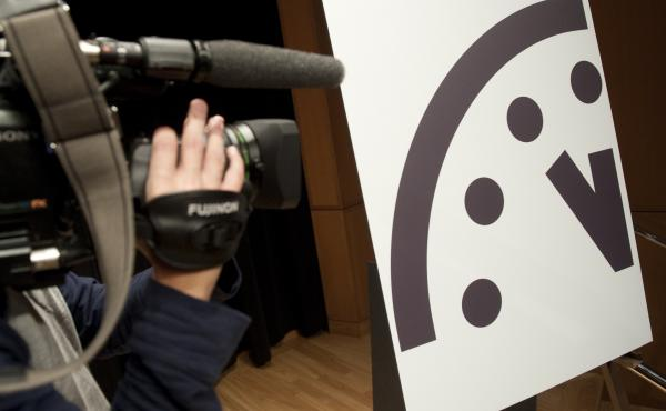 The Doomsday Clock stayed fixed at three minutes to midnight — the closest it has been to midnight since 1984.