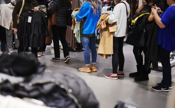 Customers stand in line at a Zara store on Black Friday in Paramus, N.J., on Friday.