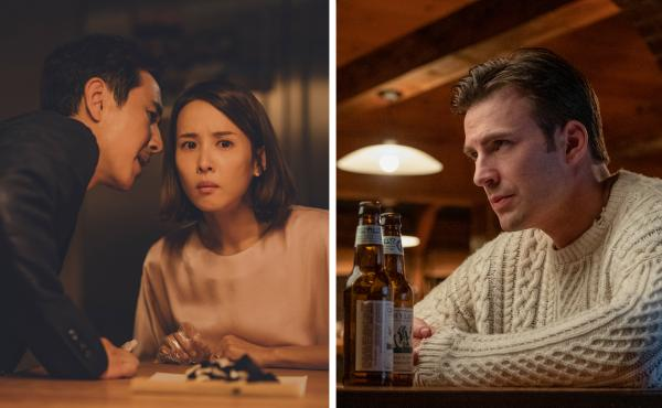 Parasite and Knives Out top Justin Chang's 2019 list of movie pairings. At left, Lee Sun-kyun and Cho Yeo-jeong play a wealthy couple whose hired help isn't quite what it seems in Bong Joon-ho's thriller, Parasite. Chris Evans (right) is a trust-fund play