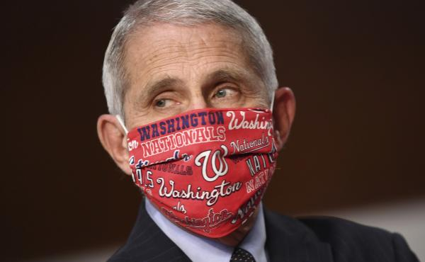 Dr. Anthony Fauci, director of the National Institute for Allergy and Infectious Diseases wore a Washington Nationals face mask before testifying at a congressional hearing on June 30. The team announced he will throw out the ceremonial first pitch at the