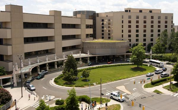 Duke University is paying the U.S. $112.5 million to resolve allegations that it violated the False Claims Act by submitting falsified research data to win or keep federal grants. Here, a photo shows the Duke University Hospital in Durham, N.C., in 2008,