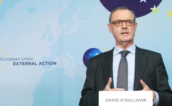 David O'Sullivan, who heads the EU Mission to Washington, D.C., speaks in Brussels in February 2014.