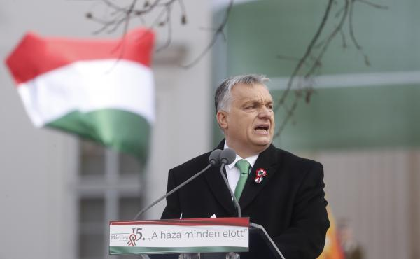 Hungarian Prime Minister Viktor Orban delivers a speech in front of the National Museum during Hungary's National Day celebrations on Friday in Budapest. Hungary's National Day celebrations commemorate the 1848 Hungarian Revolution against the Habsburg mo