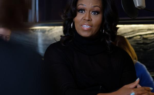 NPR host Audie Cornish interviews former first lady Michelle Obama about her memoir Becoming in Chicago, Ill., Nov. 2.