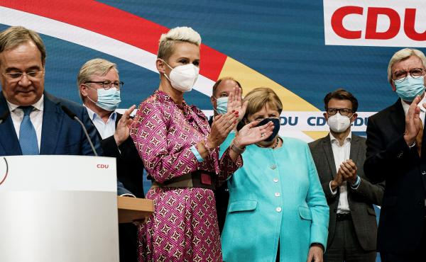 German Chancellor Angela Merkel receives applause during the Christian Democratic Union (CDU) election event on Sunday in Berlin. Voters have gone to the polls nationwide in elections that herald the end of Merkel's 16-year chancellorship.