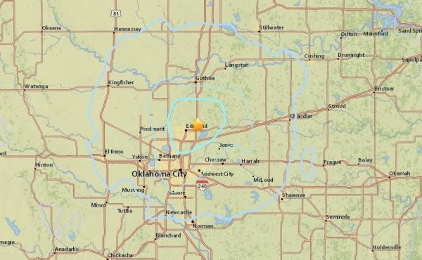 The U.S. Geological Survey shows the location of Wednesday's earthquake in central Oklahoma.