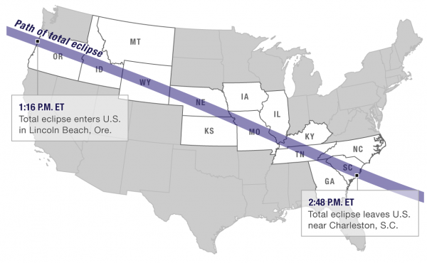 Map of eclipse path of totality.