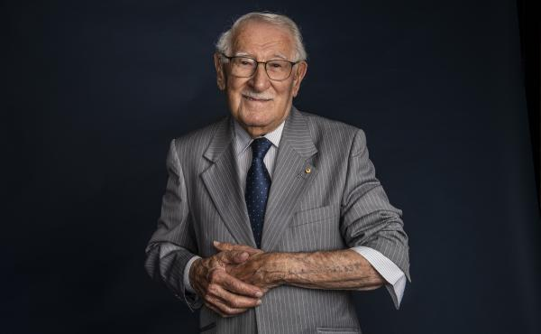 """Eddie Jaku pictured just after his 100th birthday, on July 2, 2020. The Holocaust survivor and self-proclaimed """"happiest man on Earth"""" died in Sydney this week."""