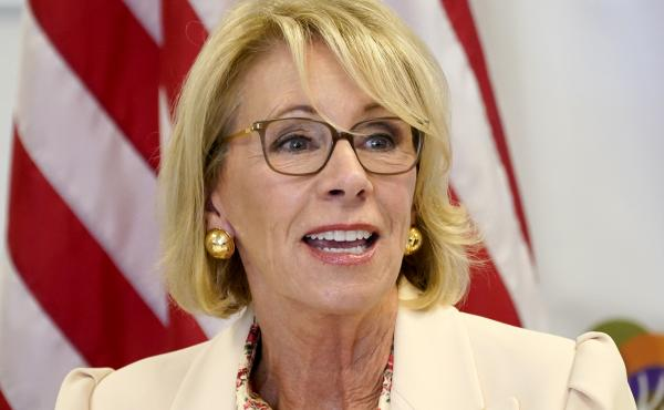 Education Secretary Betsy DeVos appears in Phoenix in October. On Friday, the Education Department announced an extension of pandemic relief measures for federal student loan borrowers.
