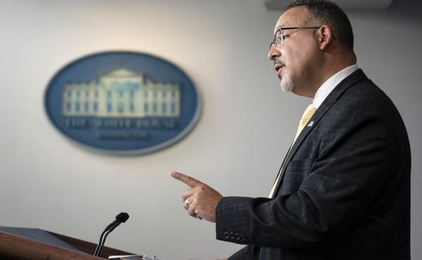 Miguel Cardona, U.S. secretary of education, speaks during a news conference at the White House on Thursday, Aug. 5, 2021.