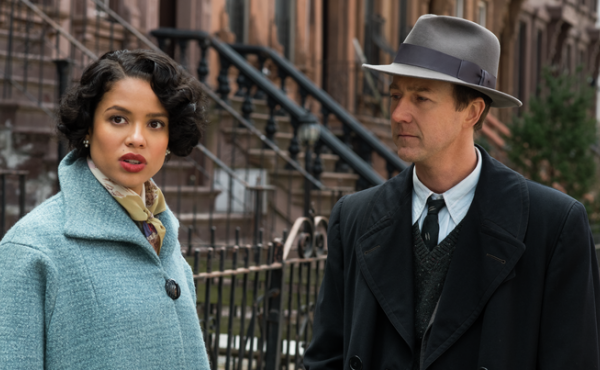"""Edward Norton (shown here with co-star Gugu Mbatha-Raw) describes his Motherless Brooklyn character as a sad and lonely """"street kid."""""""