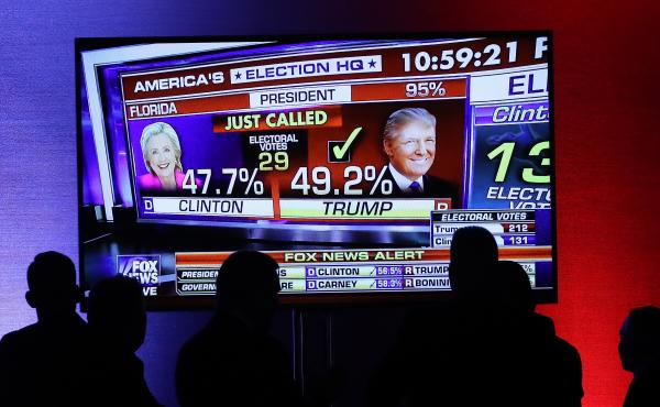Supporters of Republican presidential nominee Donald Trump watch as Fox News projects him the winner in Florida on Nov. 8, 2016. Fox is joining the Associated Press in a new experiment to measure voter preferences, that will be key to their projections on