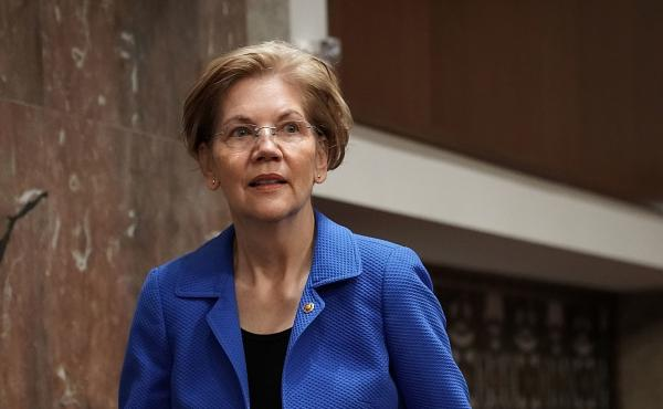 Sen. Elizabeth Warren arrives at a confirmation hearing before the Senate Armed Services Committee on March 1.