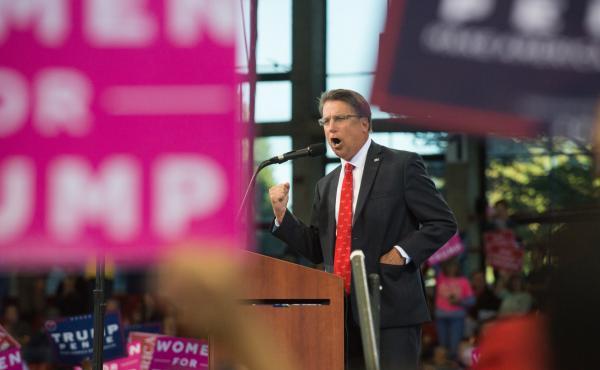 North Carolina Gov. Pat McCrory speaks during a Trump rally in November.