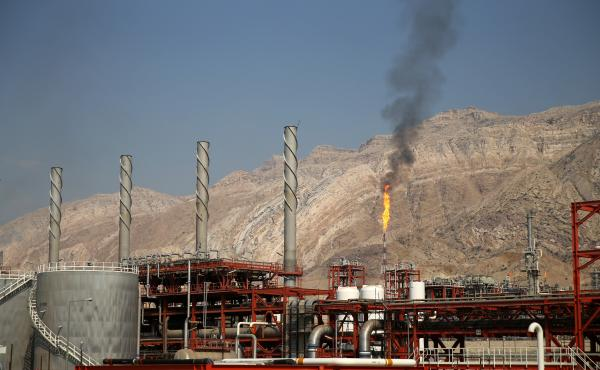 A natural gas refinery is shown here in the South Pars gas field in Asalouyeh, Iran, on the north coast of the Persian Gulf.
