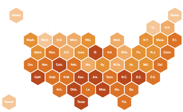 Percent of Spanish-speaking ELLs by state.