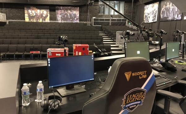 The view from onstage at the Battle Arena in Los Angeles. This is the 375-seat arena that holds regular season games for teams competing in the North American Esports league called the League Championship Series (LCS). The 10 teams in the LCS play League
