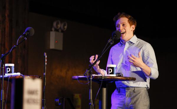 Ethan Slater appears on Ask Me Another at the Bell House in Brooklyn, New York.